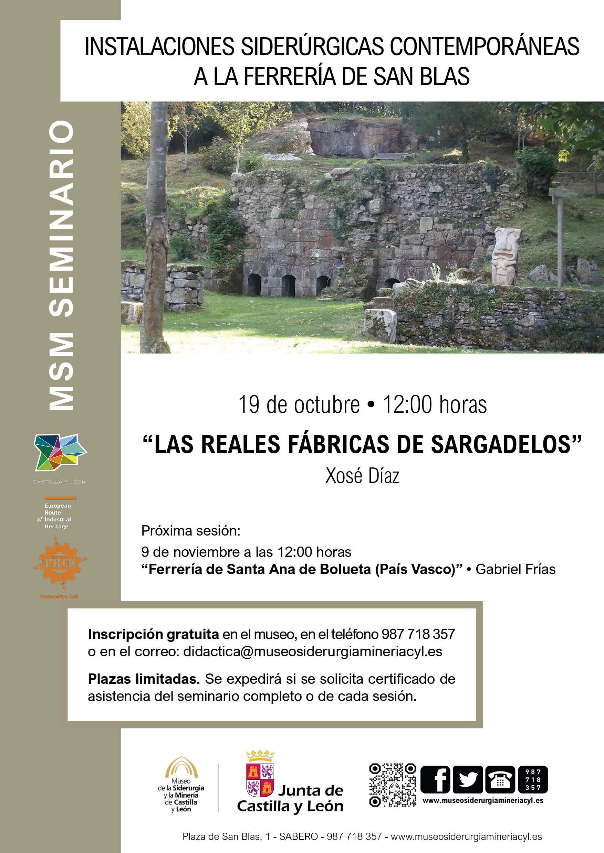 """MSM FORMACIÓN: SEMINARIO: """"LAS REALES FÁBRICAS DE SARGALEDOS"""""""