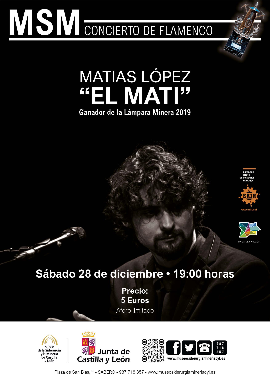 """CONCIERTO DE FLAMENCO: MATIAS LÓPEZ """"EL MATI"""". GANADOR DE LA LÁMPARA MINERA 2019"""