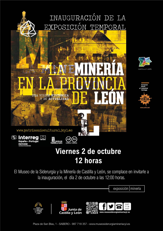 """INAUGURACIÓN EXPOSICIÓN TEMPORAL, VIERNES DÍA 2, 12 HORAS: """"LA MINERÍA EN LA PROVINCIA DE LEÓN"""""""